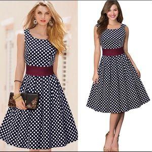 Retro Inspired Polka Dot Swing Dress, Size 14